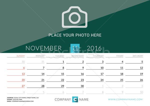 Desk Calendar 2016. Vector Print Template. November. Week Starts Sunday Stock photo © mikhailmorosin