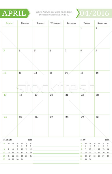 April 2016. Monthly Calendar Planner for 2016 Year. Vector Design Print Template with Place for Note Stock photo © mikhailmorosin