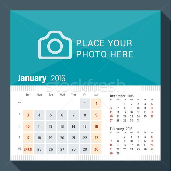 January 2016. Desk Calendar for 2016 Year. Week Starts Sunday. 3 Months on Page. Vector Design Print Stock photo © mikhailmorosin