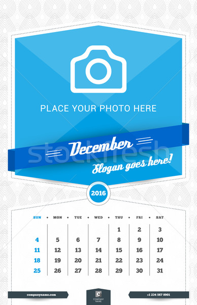 December 2016. Wall Monthly Calendar for 2016 Year. Vector Design Print Template with Place for Phot Stock photo © mikhailmorosin