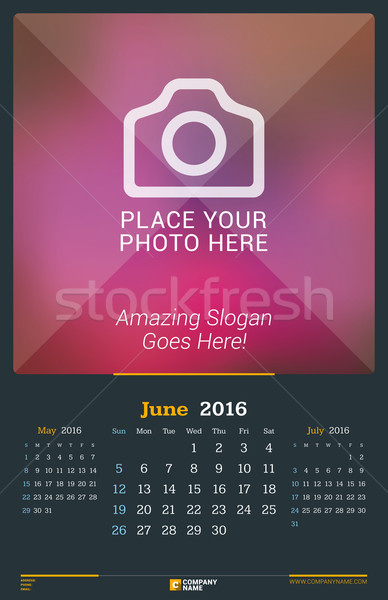 June 2016. Wall Monthly Calendar for 2016 Year. Vector Design Print Template with Place for Photo. D Stock photo © mikhailmorosin