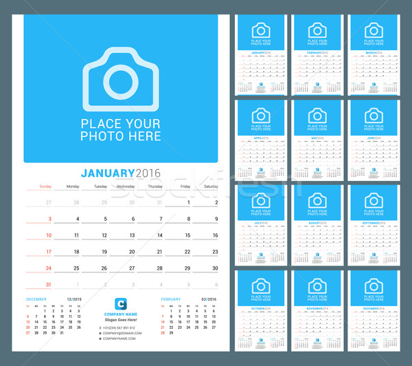 Stock fotó: Fal · havi · naptár · tervező · 2016 · év