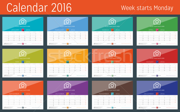 Calendar 2016 Design Template. Set of 12 Months. Week Starts Monday Stock photo © mikhailmorosin