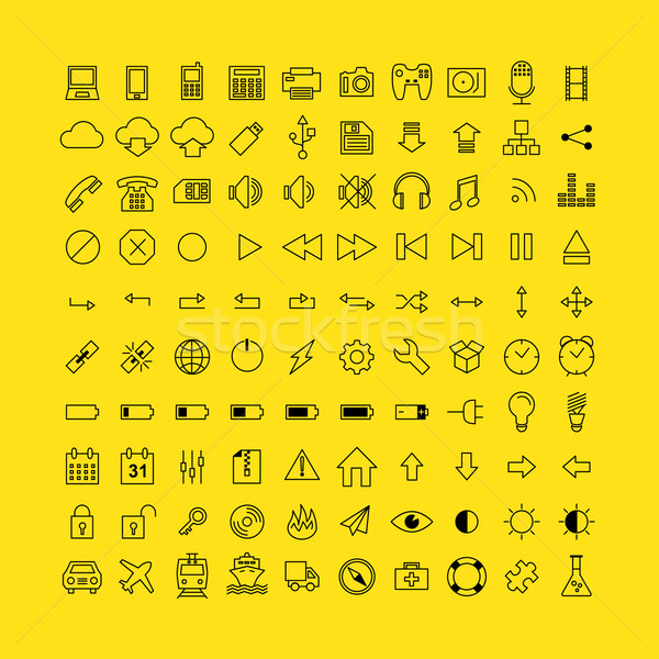 Set of Simple Vector Line Icons. Electronic Devices, Multimedia, Battery, Transportation Stock photo © mikhailmorosin