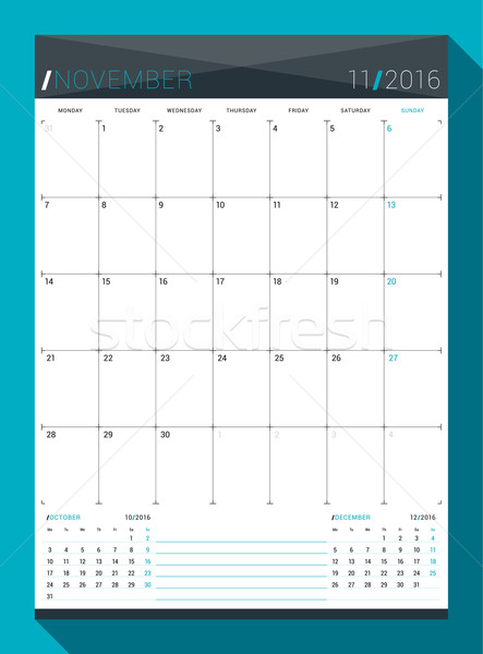 November 2016. Vector Design Print Template. Monthly Calendar Planner for 2016 Year. Week Starts Mon Stock photo © mikhailmorosin