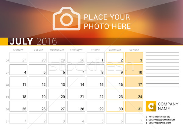 Desk Calendar for 2016 Year. July. Vector Design Print Template with Place for Photo, Logo and Conta Stock photo © mikhailmorosin