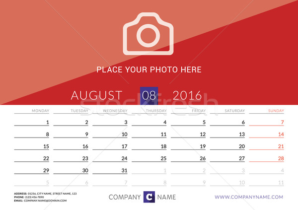 Desk Calendar 2016. Vector Print Template. August. Week Starts Monday Stock photo © mikhailmorosin