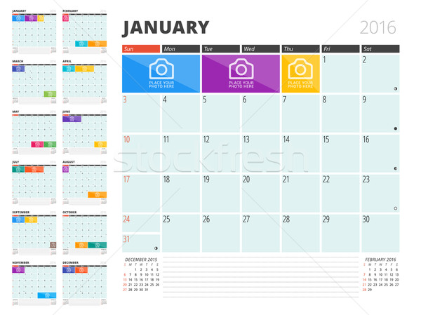 Calendar Planner 2016 Design Template with Place for Photos and Notes. Set of 12 Months. Week Starts Stock photo © mikhailmorosin