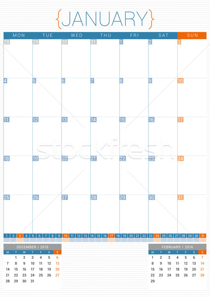 Calendar Planner 2016 Design Template. January. Week Starts Monday Stock photo © mikhailmorosin