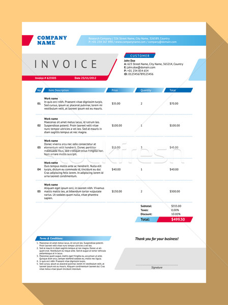 Vector Customizable Invoice Form Template Design. Vector Illustration. Blue and Red Color Theme Stock photo © mikhailmorosin