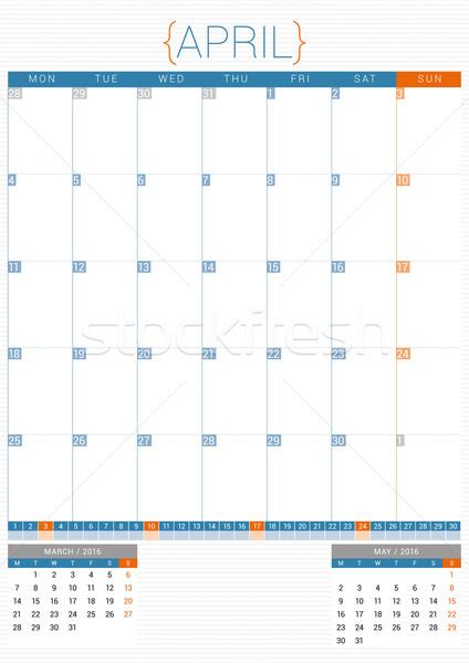 Calendar Planner 2016 Design Template. April. Week Starts Monday Stock photo © mikhailmorosin