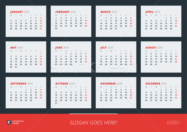 Wall Calendar Poster for 2016 Year. Vector Design Print Template. Week Starts Monday Stock photo © mikhailmorosin