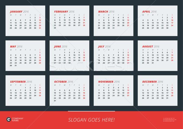 Fal naptár poszter 2016 év vektor Stock fotó © mikhailmorosin