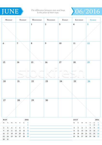 June 2016. Monthly Calendar Planner for 2016 Year. Vector Design Print Template with Place for Notes Stock photo © mikhailmorosin