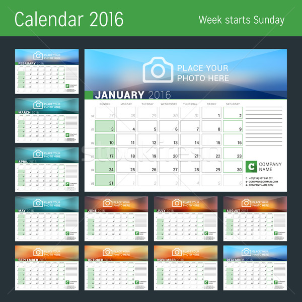 Calendrier 2016 année vecteur design planificateur Photo stock © mikhailmorosin