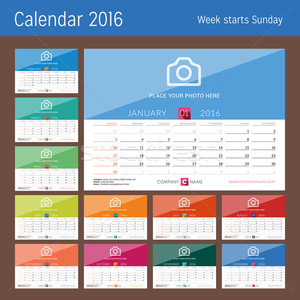 Desk Calendar 2016. Vector Print Template. Set of 12 Months. Week Starts Sunday Stock photo © mikhailmorosin