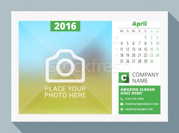 2016 asztal naptár év vektor terv Stock fotó © mikhailmorosin