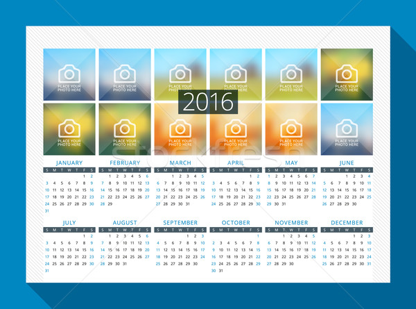 Calendar for 2016 Year. Vector Design Print Template with Place for Photo. Week Starts Sunday Stock photo © mikhailmorosin