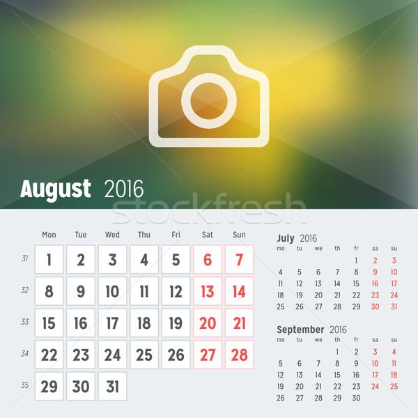Agosto 2016 desk calendario anno vettore Foto d'archivio © mikhailmorosin