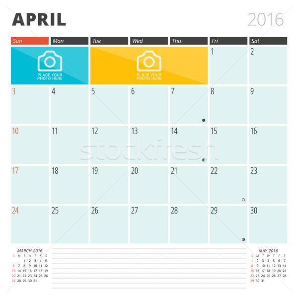 Calendar Planner 2016 Design Template with Place for Photos and Notes. April. Week Starts Sunday Stock photo © mikhailmorosin