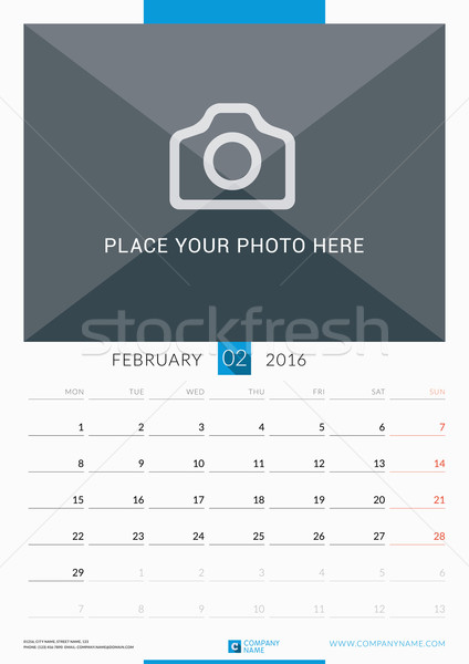 Stock photo: February 2016. Wall Monthly Calendar for 2016 Year. Vector Design Print Template with Place for Phot