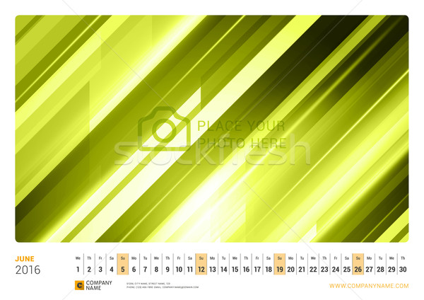 Wall Monthly Line Calendar for 2016 Year. Vector Design Print Template. Landscape Orientation. June  Stock photo © mikhailmorosin