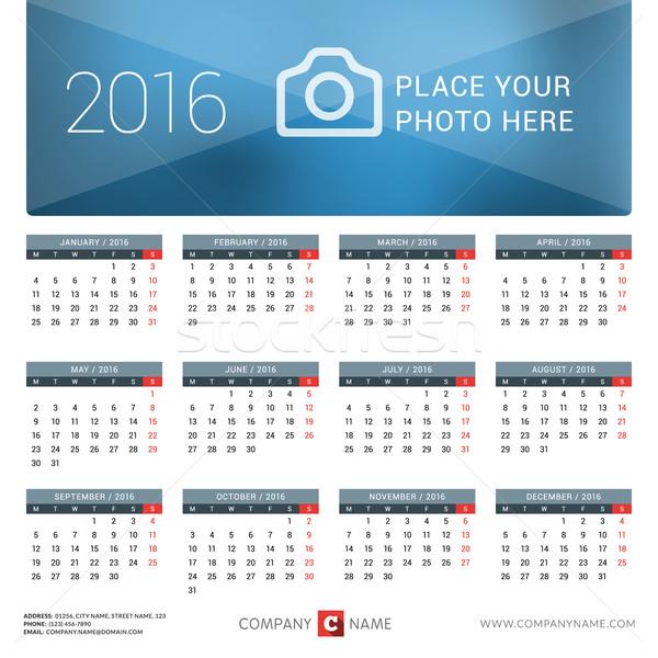 Calendário 2016 ano vetor projeto imprimir Foto stock © mikhailmorosin