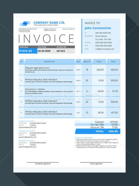 Vector Customizable Invoice Form Template Design. Vector Illustration Stock photo © mikhailmorosin
