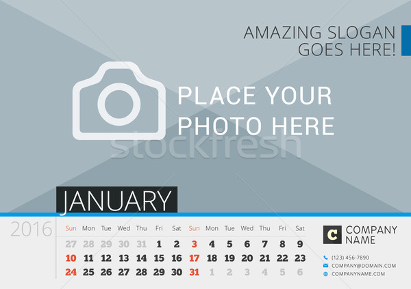 Desk Calendar 2016. Vector Print Template with Place for Photo. January. Week Starts Sunday Stock photo © mikhailmorosin