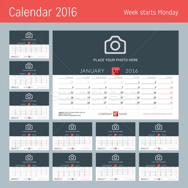 Stock fotó: Asztal · naptár · 2016 · év · vektor · terv