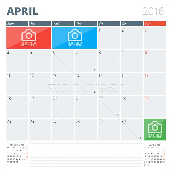 Kalender ontwerper 2016 ontwerpsjabloon plaats foto's Stockfoto © mikhailmorosin
