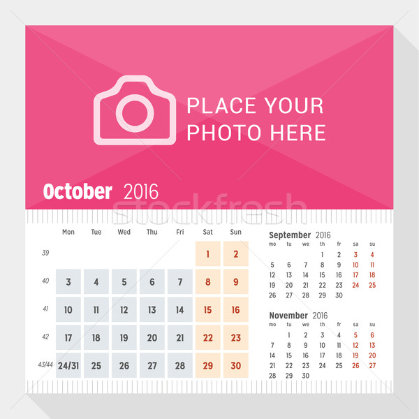 October 2016. Desk Calendar for 2016 Year. Week Starts Monday. 3 Months on Page. Vector Design Print Stock photo © mikhailmorosin