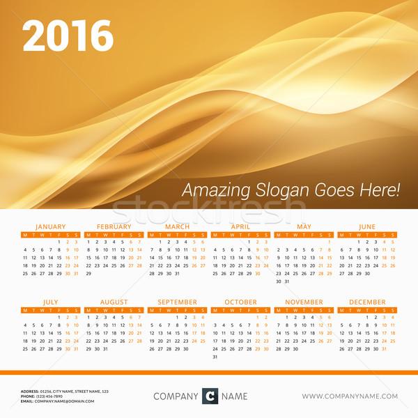 Kalendarza 2016 rok wektora projektu wydruku Zdjęcia stock © mikhailmorosin