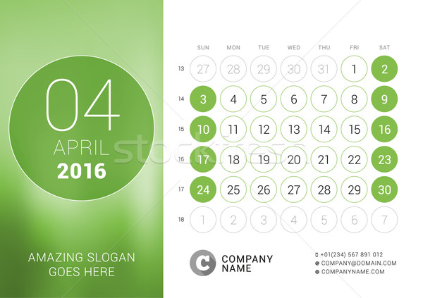 Stock photo: April 2016. Desk Calendar for 2016 Year. Vector Design Print Template with Place for Photo and Circl
