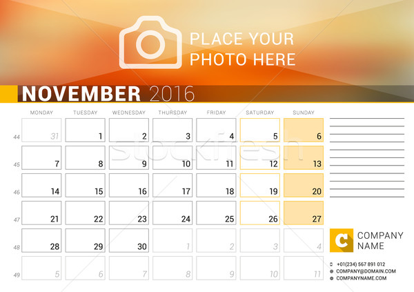Desk Calendar for 2016 Year. November. Vector Design Print Template with Place for Photo, Logo and C Stock photo © mikhailmorosin