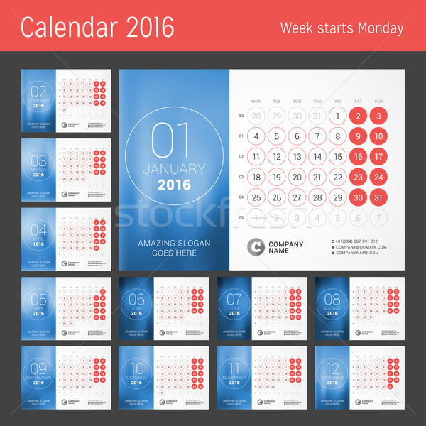 Calendar for 2016 Year. Vector Design Print Template. Week Starts Monday. Calendar Grid with Week Nu Stock photo © mikhailmorosin