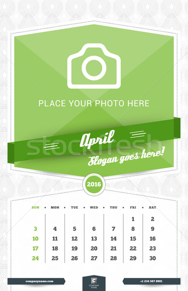 April 2016. Wall Monthly Calendar for 2016 Year. Vector Design Print Template with Place for Photo a Stock photo © mikhailmorosin