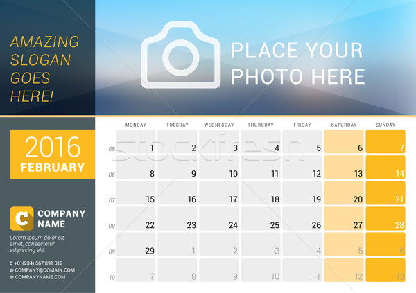 February 2016. Desk Calendar for 2016 Year. Vector Design Print Template with Place for Photo, Logo  Stock photo © mikhailmorosin