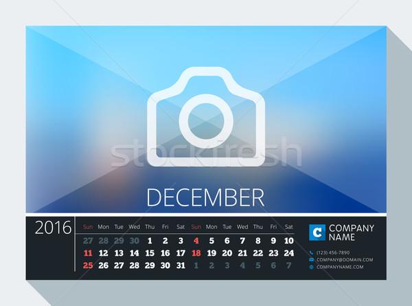 Stock fotó: December · 2016 · vektor · irodaszer · terv · nyomtatott