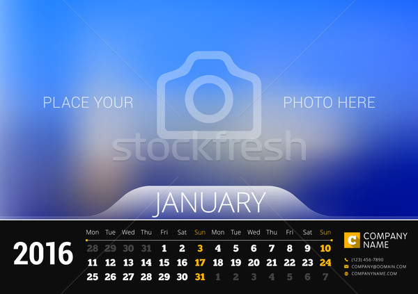January 2016. Desk Calendar for 2016 Year. Vector Design Print Template with Place for Photo. Week S Stock photo © mikhailmorosin
