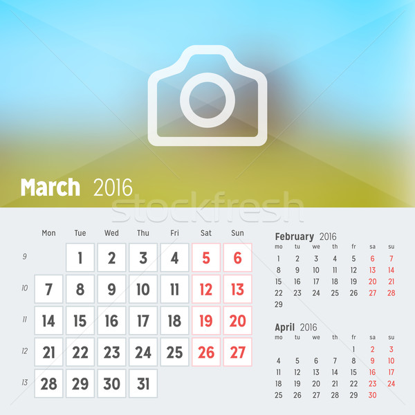 March 2016. Desk Calendar for 2016 Year. Vector Design Print Template with Place for Photo. Week Sta Stock photo © mikhailmorosin