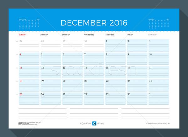December 2016 havi naptár tervező év Stock fotó © mikhailmorosin