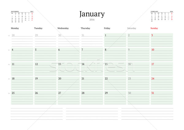 Monthly Calendar Planner 2016. Vector Print Template. January. Week Starts Monday Stock photo © mikhailmorosin