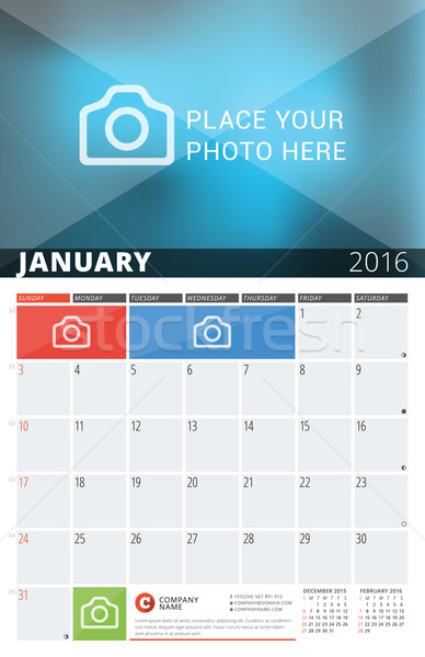 Wall Calendar Planner for 2016 Year. Vector Design Print Template with Place for Photos and Notes. W Stock photo © mikhailmorosin