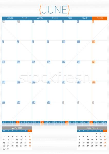 Calendrier planificateur 2016 modèle de conception semaine papier Photo stock © mikhailmorosin