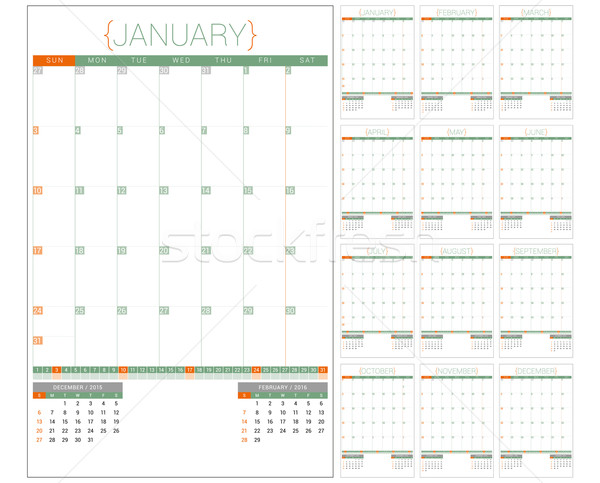 Calendário 2016 modelo de design conjunto 12 Foto stock © mikhailmorosin