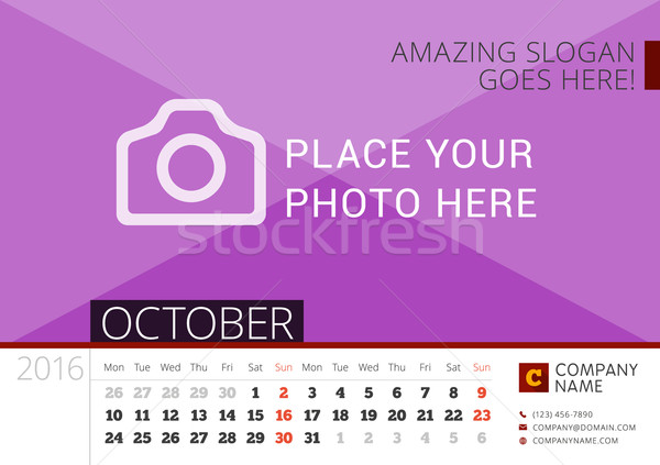 Desk Calendar 2016 Year. Vector Design Print Template with Place for Photo. October. Week Starts Mon Stock photo © mikhailmorosin