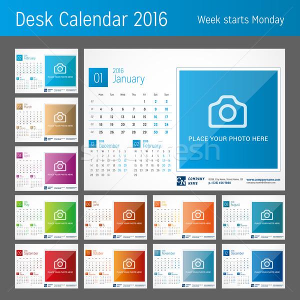 Bureau kalender 2016 ingesteld 12 maanden Stockfoto © mikhailmorosin