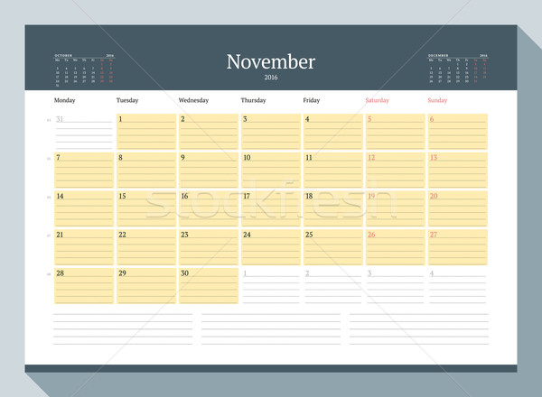 November 2016. Monthly Calendar Planner for 2016 Year. Vector Design Print Template. Week Starts Mon Stock photo © mikhailmorosin