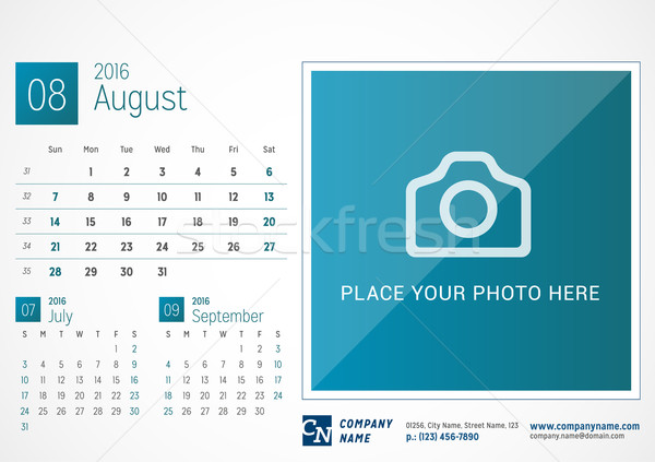 Bureau kalender 2016 vector print sjabloon for Bureau kalender